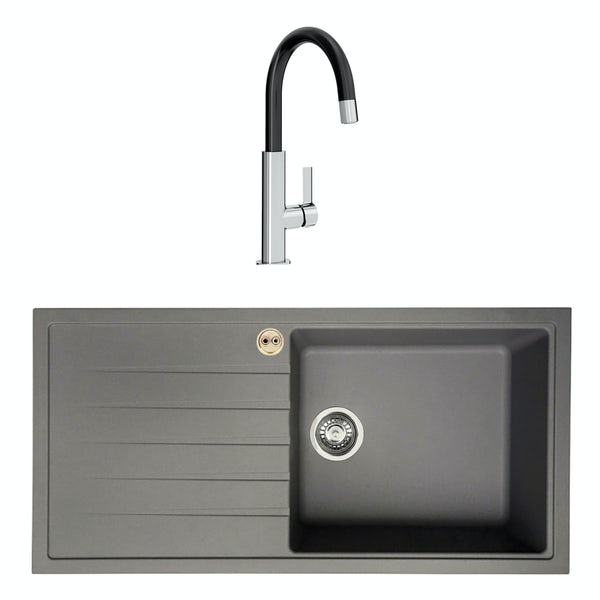 Bristan Gallery quartz left handed dawn grey easyfit 1.0 bowl kitchen sink with Melba black tap