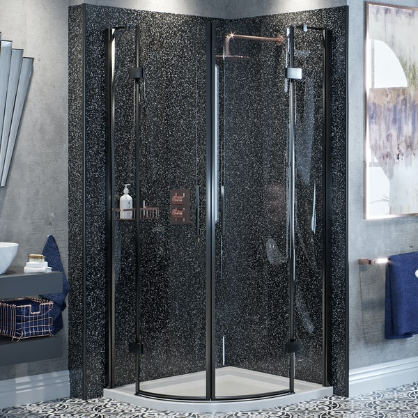 Mode Cooper black hinged quadrant shower enclosure with stone shower tray 900 x 900