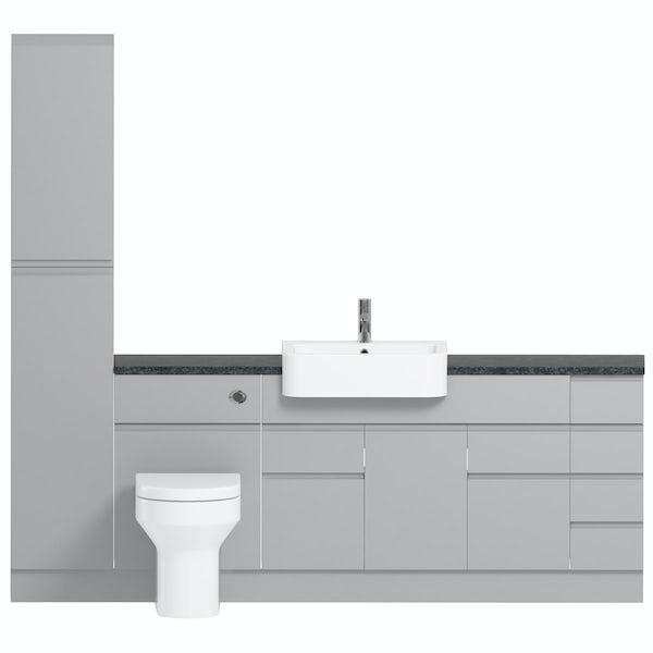 Orchard Wharfe slate matt grey straight medium drawer fitted furniture pack with black worktop