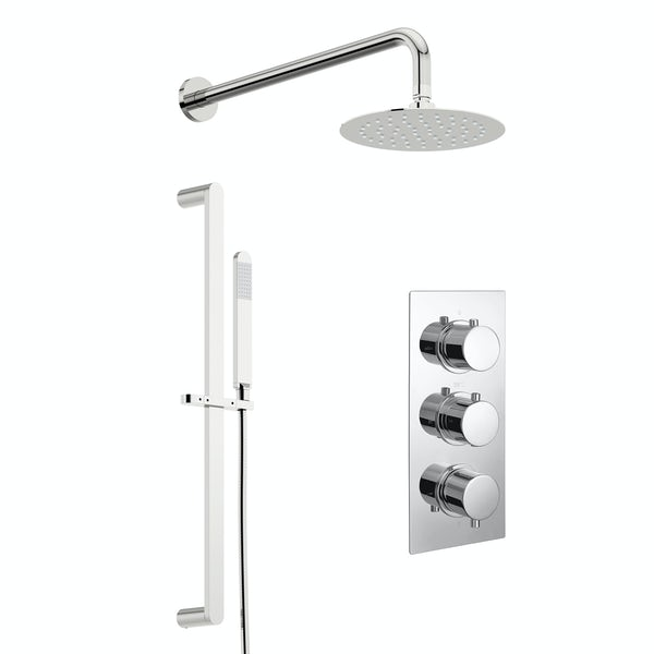 Kirke Curve concealed thermostatic mixer shower with wall arm and slider rail