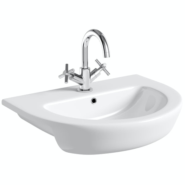 Mode Tate 1 tap hole semi recessed basin 550mm with waste