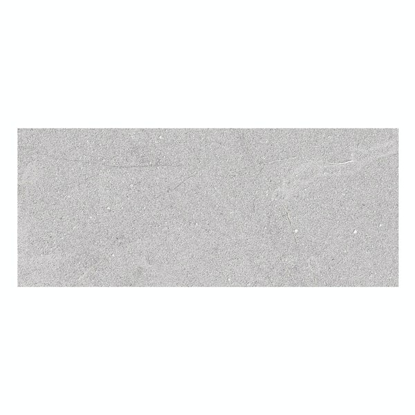 Matano light grey flat stone effect matt wall tile 250mm x 600mm