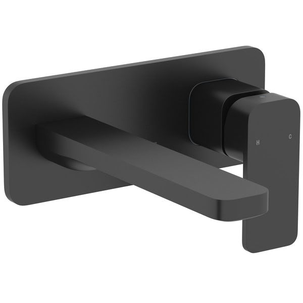 Mode Spencer square wall mounted black basin mixer tap offer pack