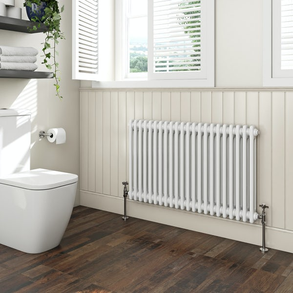 The Bath Co. Camberley white 2 column radiator 600 x 1014