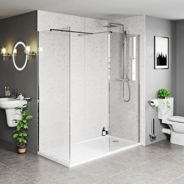 Mode Burton 8mm walk in shower enclosure pack with end panel and walk in tray