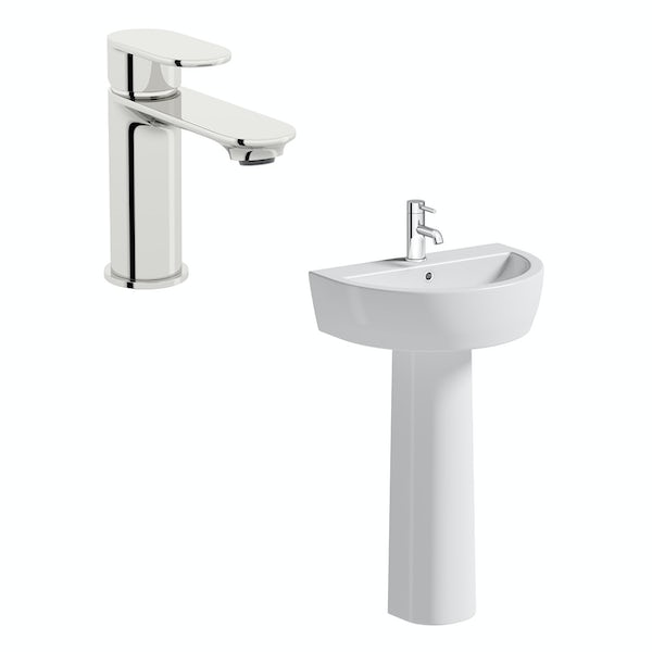 Mode Tate 1 tap hole full pedestal basin 550mm with tap
