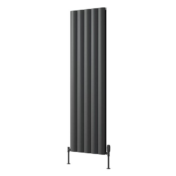 Reina Belva anthracite grey double vertical aluminium designer radiator
