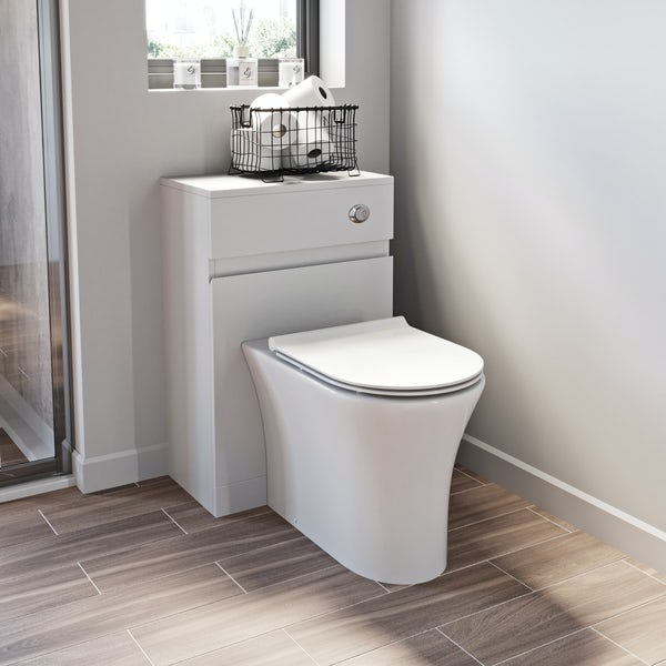 Mode Hardy white back to wall unit and rimless toilet with soft close slim seat