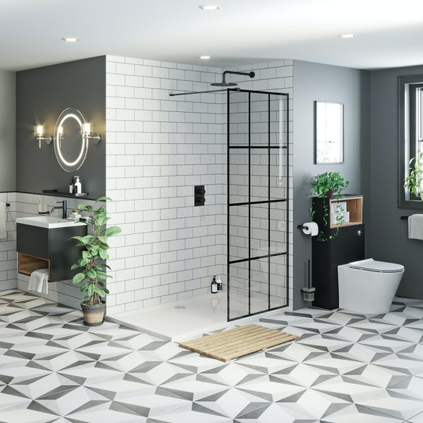 Mode 8mm black framed panel with stone shower tray 1200 x 800