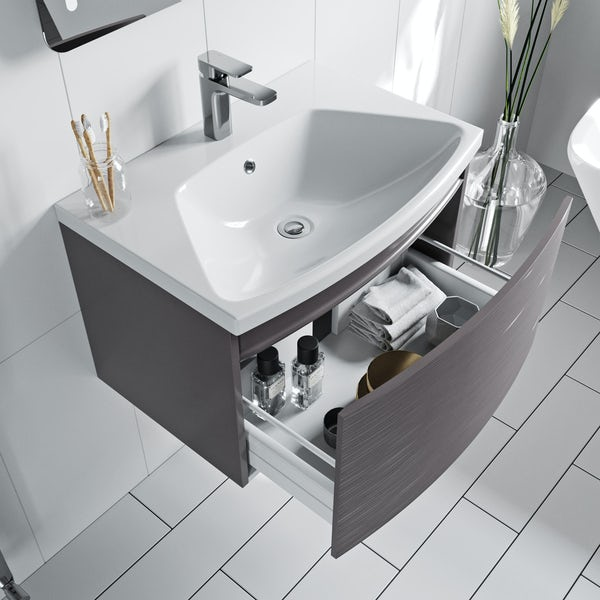 Mode Foster textured lava-stone matte brown wall hung vanity unit and basin 660mm