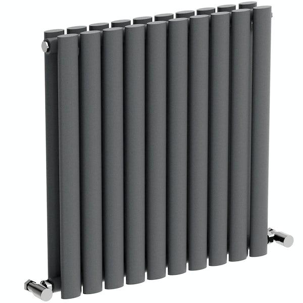Mode Tate anthracite grey double horizontal radiator