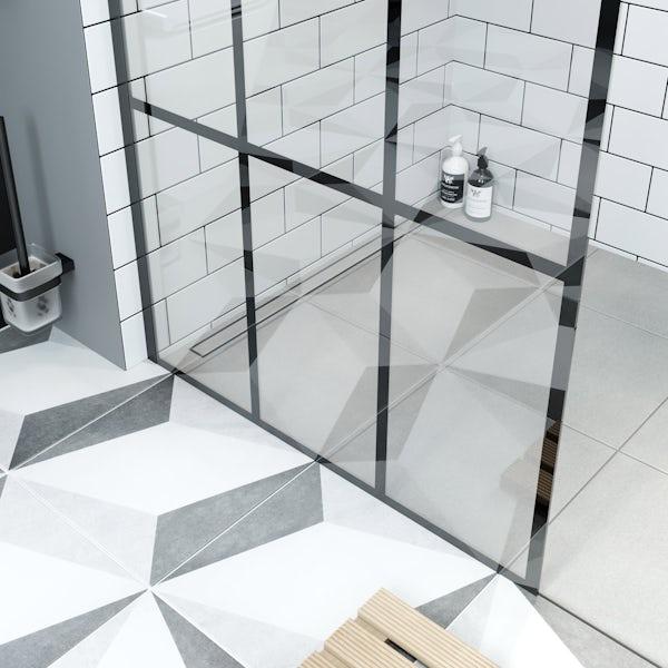 Mode 8mm black framed wet room panel with right handed 8mm black granite effect shower tray 1200 x 800