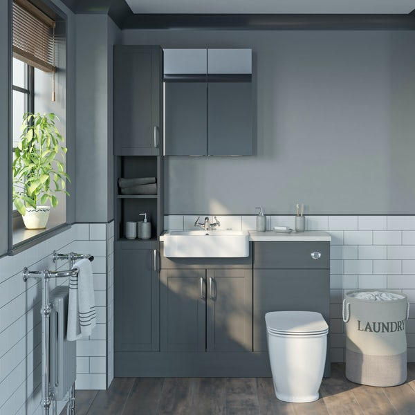 The Bath Co. Newbury dusk grey tall fitted furniture & mirror combination with white worktop
