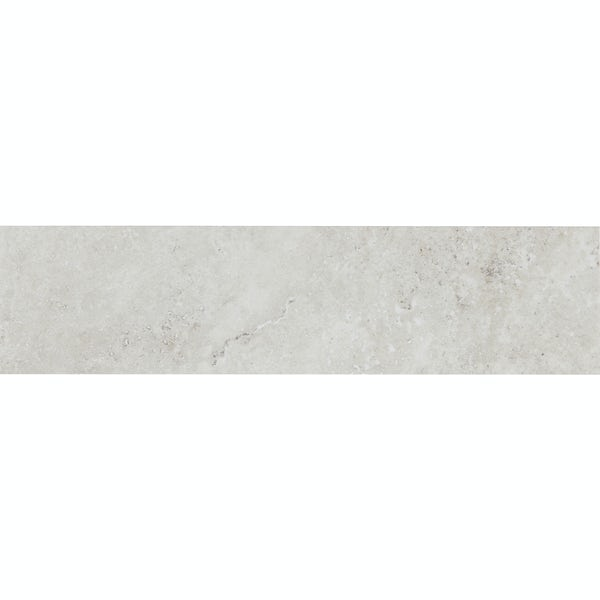 Ibera white stone effect matt wall tile 100mm x 400mm