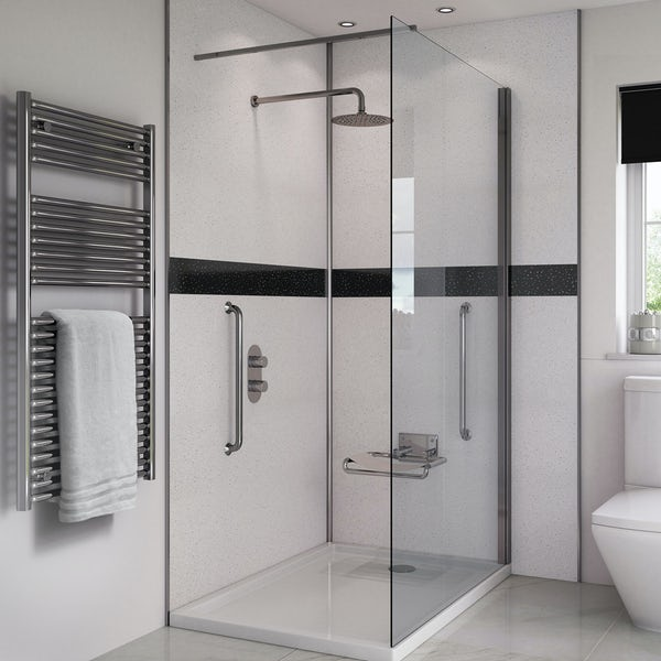 Splashpanel Arctic Sparkle easy fit 2 sided shower wall panel kit