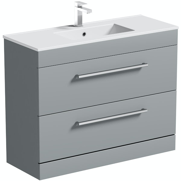 Orchard Derwent stone grey vanity drawer unit and basin 1000mm