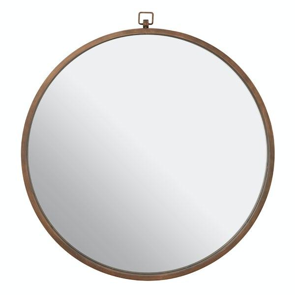Jacen round wall mirror with bronze frame