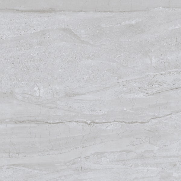 Comet mid grey marble effect gloss wall and floor tile 600mm x 600mm