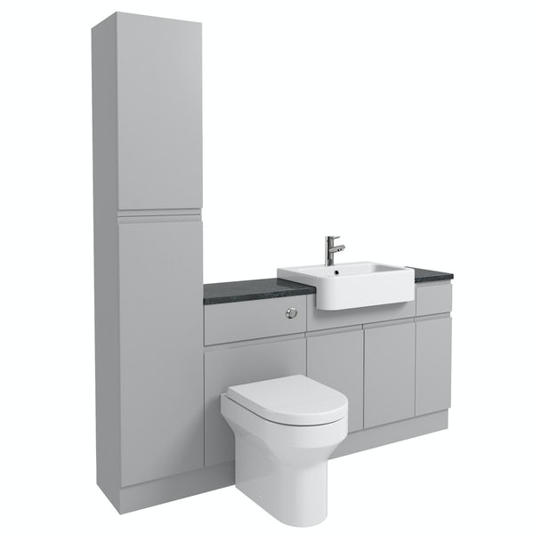 Orchard Wharfe slate matt grey straight small storage fitted furniture pack with black worktop