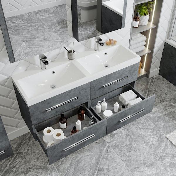 Orchard Kemp riven grey wall hung double vanity unit and basin 1200mm