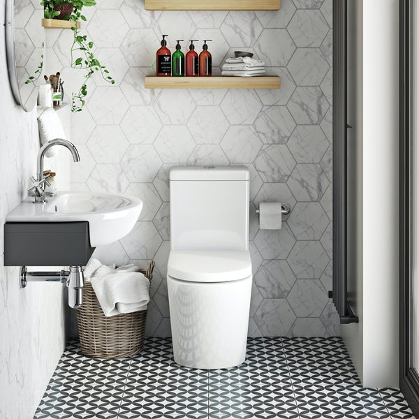 Mode Tate rimless close coupled toilet with soft close seat