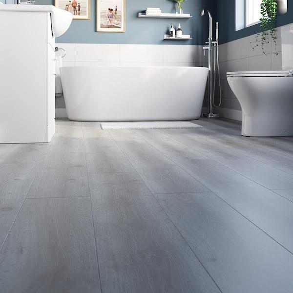 Erie fossil elm plank water resistant laminate flooring 8mm