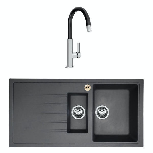 Bristan Gallery quartz left handed midnight grey easyfit 1.5 bowl kitchen sink with Melba black tap