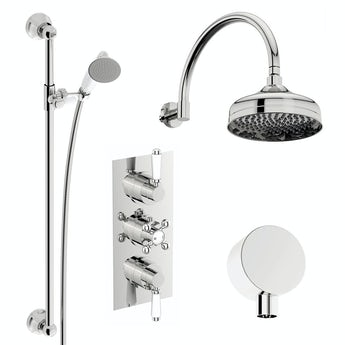 The Bath Co. Winchester concealed thermostatic mixer shower with wall arm and slider rail