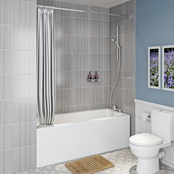 Clarity straight shower bath with shower curtain and rail