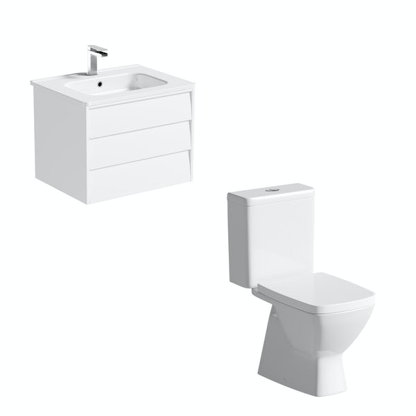 Mode Cooper close coupled toilet and white vanity unit suite 600mm