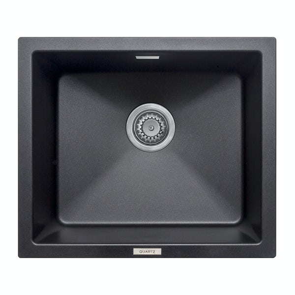 Schon Windermere universal undermount 1.0 deep bowl black granite kitchen sink with waste