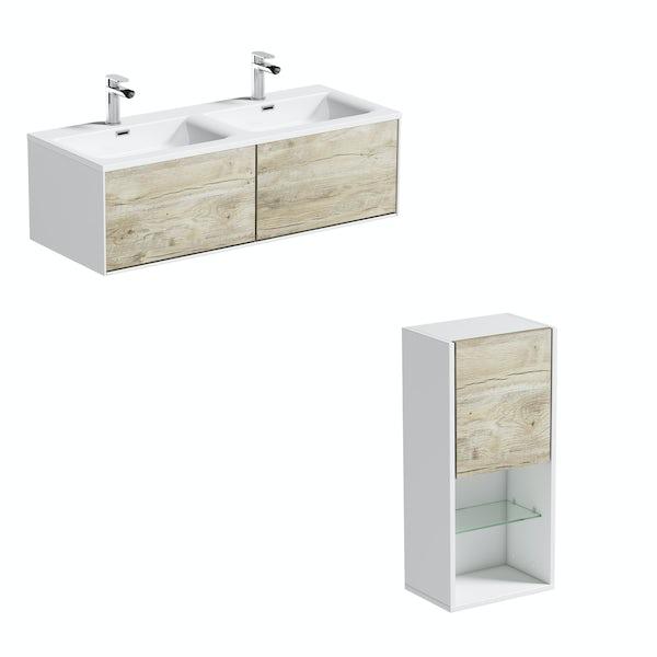 Mode Burton white & rustic oak wall hung double basin vanity unit 1200mm & storage set