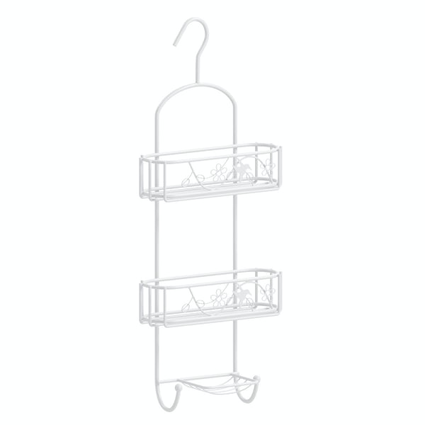 Hanging 3 tier shower caddy with white finish