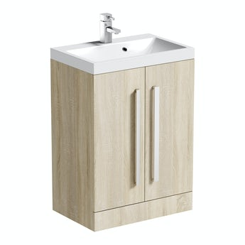 Orchard Wye oak floorstanding vanity unit and basin 600mm