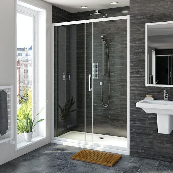 Mode 8mm matt white framed sliding shower door 1200mm