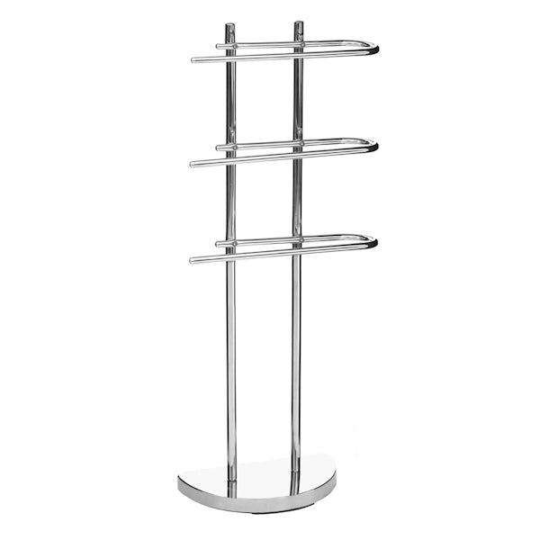 Freestanding 3 arm chrome multi towel rack