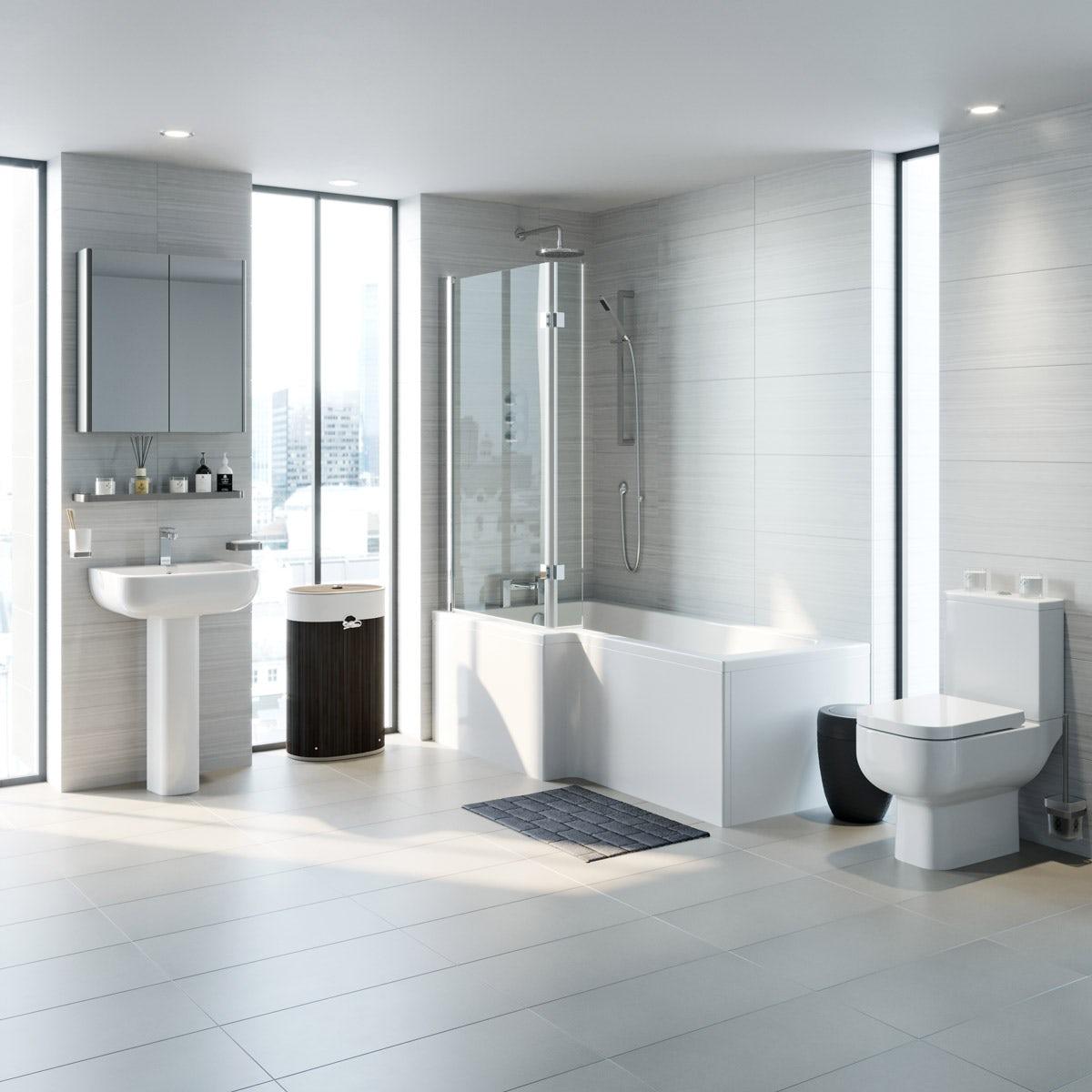 RAK Series 600 and Mode complete left handed shower bath suite 1700 x 850