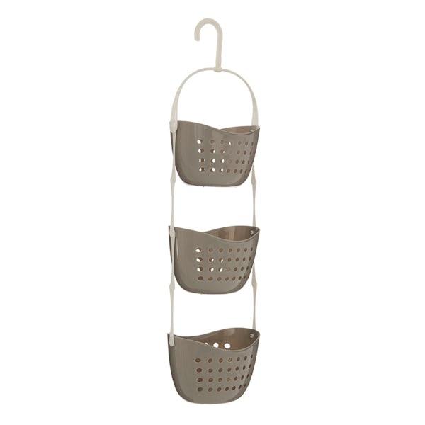 Grey 3 tier hanging shower caddy