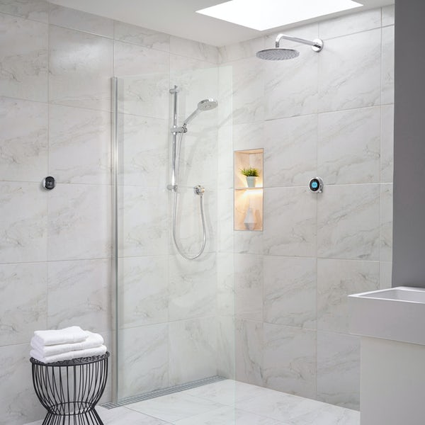 Aqualisa Optic Q Smart concealed showwer with adjustable handset and wall head graivty pumped