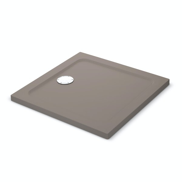 Mira Flight Safe low level anti-slip square shower tray in Taupe