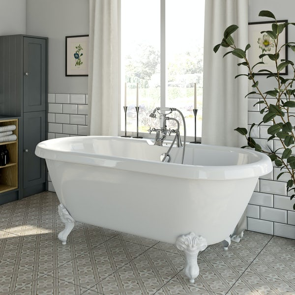 The Bath Co.Dulwichroll top bath with white ball and claw feet offer pack
