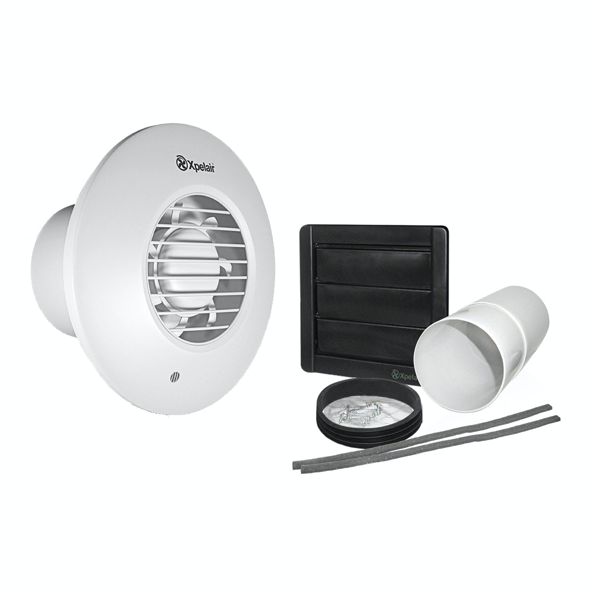 Bathroom Extractor Fans B Q: Xpelair SS150WKWR Simply Silent 150mm Wall Kit Round White