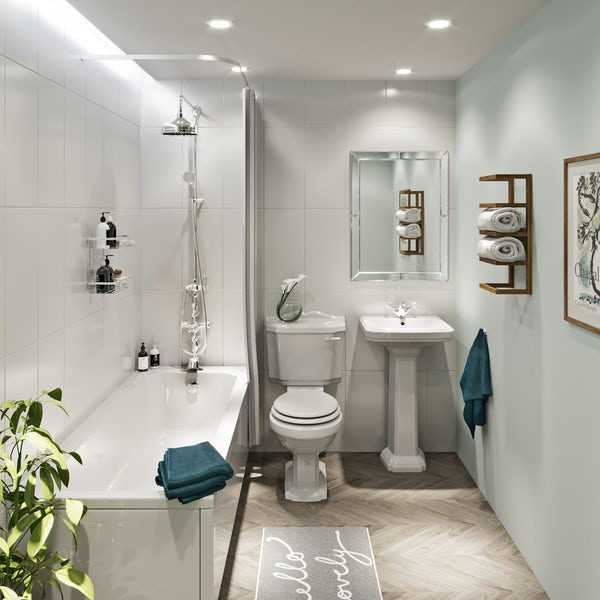 The Bath Co. Winchester complete cloakroom suite with white seat and full pedestal basin 600mm