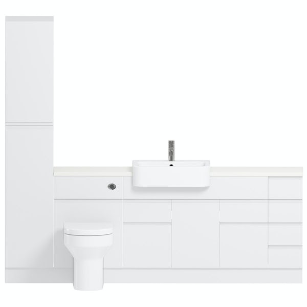 Reeves Wharfe white straight medium drawer fitted furniture pack with white worktop