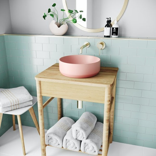 Accents Orion pink coloured countertop basin 355mm with tap