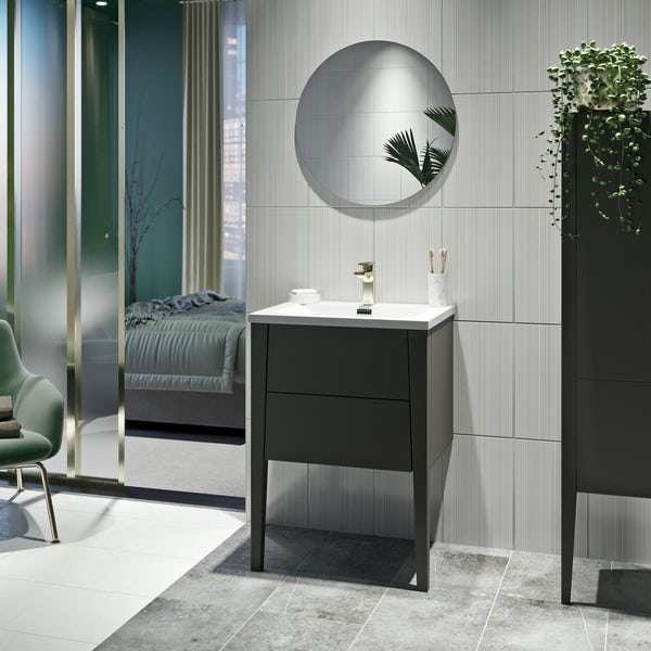 Mode Hale grey-stone matte wall hung vanity unit and basin 600mm