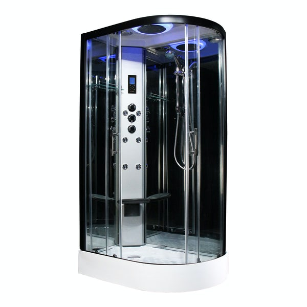 Insignia Premium black framed offset quadrant left handed hydro-massage shower cabin 1100 x 700