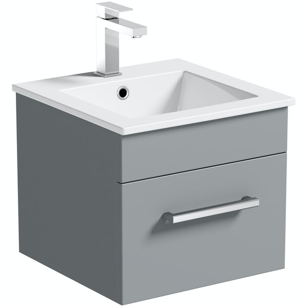 Orchard Derwent grey wall hung cloakroom vanity unit and basin 420mm