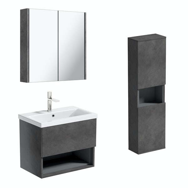 Mode Tate II riven grey furniture package with wall hung vanity unit 600mm
