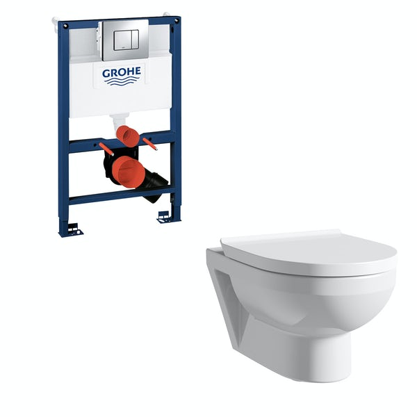 Duravit Durastyle Basic rimless wall hung toilet, Grohe Rapid SL frame and Skate Cosmopolitan push plate